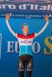 Canazei, Italia 24 maggio 2017: Bob Jungels, in jersey bianco di migliore giovane cavaliere Immagini Stock Libere da Diritti