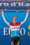 Canazei, Italia 24 maggio 2017: Bob Jungels sul podio dopo una fase dura del montain Fotografia Stock