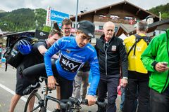 Canazei, Italy May 24, 2017: Mikel Landa, during an interview on the way to the bus. After after a hard montain stage of Tour of Italy 2017 that finish in the Royalty Free Stock Photos