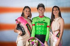 Canazei, Italy May 24, 2017: Pierre Rolland Cannondale-Drapac Pro Cycling Team,  on the podium. After winning a hard montain stage of Tour of Italy 2017 that Stock Photography
