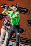 Canazei, Italy May 24, 2017: Pierre Rolland Cannondale-Drapac Pro Cycling Team,  on the podium. After winning a hard montain stage of Tour of Italy 2017 that Stock Photos