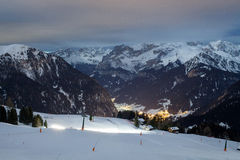 Canazei resort slopes at night Stock Photos