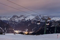 Canazei resort slopes at night Royalty Free Stock Images