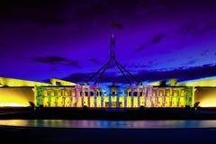 Canberra éclairent le nouveau Parlement Hou de festival Images libres de droits