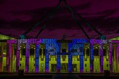 Canberra éclairent le nouveau Parlement Hou de festival Photos stock
