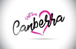 Canberra amo appena il testo di parola con la fonte scritta a mano e la forma rosa del cuore illustrazione di stock