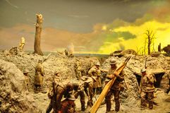 The diorama by Peter Corlett which depicted the difficult conditions endured by the Australian soldiers who fought on the Western. CANBERRA, AUSTRALIA royalty free stock photography