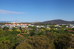 Canberra in Australia. The Australian city of Canberra with Parliament House and Black Mountain Tower Royalty Free Stock Photography