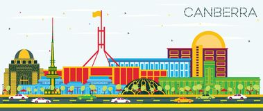 Canberra Australia City Skyline with Color Buildings and Blue Sk. Y. Vector Illustration. Business Travel and Tourism Concept with Modern Architecture. Canberra stock illustration