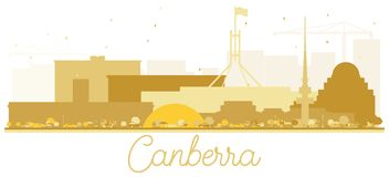 Canberra Australia City skyline Golden silhouette. royalty free illustration