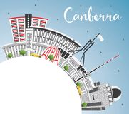 Canberra Australia City Skyline with Gray Buildings, Blue Sky an. D Copy Space. Vector Illustration. Business Travel and Tourism Concept with Modern Architecture vector illustration