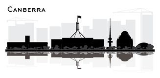 Canberra Australia City Skyline Silhouette with Black Buildings and Reflections Isolated on White stock illustration
