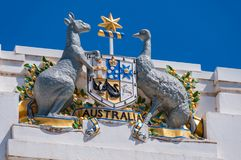 Australian Coat of Arms on Old Parliament House in Canberra, Aus. Canberra, Australia - March 7, 2009: Australian Coat of Arms on Old Parliament House in Stock Photography
