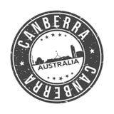 Canberra Australia Oceania Round Button City Skyline Design Stamp Vector Travel Tourism stock illustration