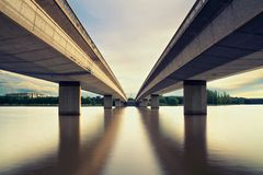 Canberra &  2 Bridges. Two Bridges in Canberra Australia Capital Stock Photography