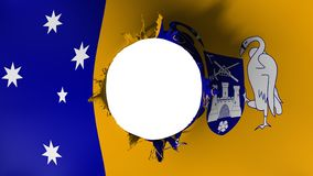 Canberra flag ripped apart. Canberra, capital of Australia flag ripped apart, white background, 3d rendering vector illustration