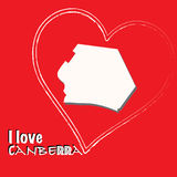 Canberra-Capital of Australia-Map illustration - i love sign royalty free illustration