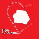 Canberra-capital d'illustration d'Australie-carte - signe d'amour d'I Photos libres de droits