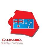 Canberra-capitale dell'illustrazione di vettore della mappa dell'Australia - bandiera dell'Australia Fotografia Stock Libera da Diritti