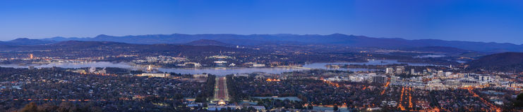Canberra city at night. CANBERRA, AUSTRALIA - 7 JUNE 2014: Bird's eye view of Canberra city at night as seen from Mount Ainslie Stock Photography