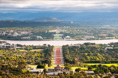 Canberra Cityscape. The view of Canberra from Mount Ainslie, featurng the Australian War Memorial, Lake Burley Griffin, Old Parliament House and New Parliament Royalty Free Stock Photos