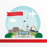Canberra ha dettagliato la siluetta Illustrazione d'avanguardia di vettore, stile piano Punti di riferimento variopinti alla moda illustrazione vettoriale