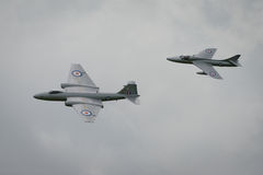 Canberra and Hunter aircraft Stock Image