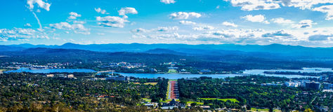 Canberra landscape. View of Australia's capital city, Canberra and surrounding hills in panoramic landscape Stock Photography