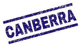 Scratched Textured CANBERRA Stamp Seal. CANBERRA seal print with distress style. Blue vector rubber print of CANBERRA title with scratched texture. Text title is royalty free illustration