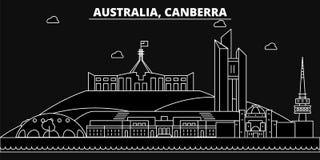 Canberra silhouette skyline. Australia - Canberra vector city, australian linear architecture, buildings. Canberra. Line travel illustration, landmarks vector illustration