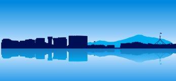 Canberra skyline. Detailed vector Canberra skyline with Black Mountain stock illustration