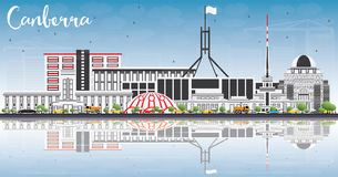 Canberra Skyline with Gray Buildings, Blue Sky and Reflections. Vector Illustration. Business Travel and Tourism Concept with Modern Architecture. Image for royalty free illustration