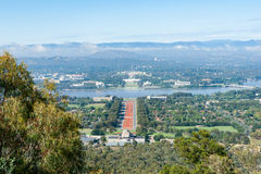 Canberra view from Mount Ainslie aover orange coloured Anzac PAr Royalty Free Stock Photos