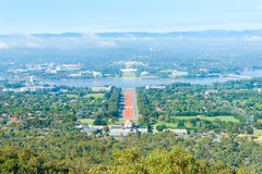 Canberra view from Mount Ainslie aover orange coloured Anzac Stock Photography
