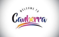 Canberra Welcome To Message in Purple Vibrant Modern Colors. stock illustration
