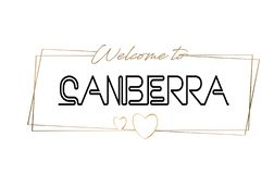 Canberra  Welcome to text Neon lettering typography. Word for logotype, badge, icon, postcard, logo, banner Vector Illustration stock illustration