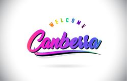 Canberra Welcome To Word Text with Creative Purple Pink Handwritten Font and Swoosh Shape Design Vector royalty free illustration