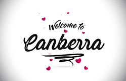 Canberra Welcome To Word Text with Handwritten Font and Pink Heart Shape Design vector illustration