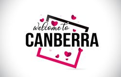Canberra Welcome To Word Text with Handwritten Font and Red Hearts Square vector illustration