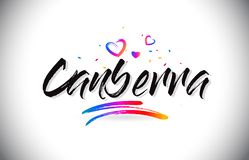 Canberra Welcome To Word Text with Love Hearts and Creative Handwritten Font Design Vector stock illustration