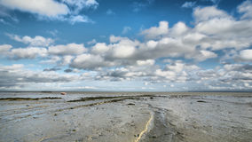 Cancale wide angle HDR. Low tide in Cancale, France, high density range image Royalty Free Stock Photo