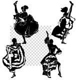 Cancan dancers silhouettes set. Vector monochrome illustration, transparent background, isolated figures Royalty Free Stock Photo