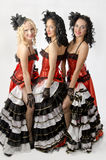 Cancan dancers. Three young girls dancing in studio a french cancan Stock Images