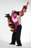 Cancan di dancing delle coppie in studio Immagine Stock Libera da Diritti
