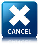 Cancel blue square button Stock Image