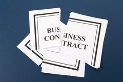 Cancel Business Contract. Torn paper stock image