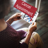 Cancel Cancellation Appointment Postpone Concept. Woman Using Tablet Device Concept royalty free stock photography