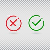 Cancel decline. Check marks set on transparent background. YES or NO accept and decline symbol. Green tick and red cross in circle vector illustration