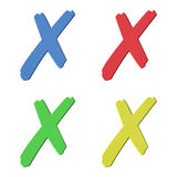 Cancel/delete icon. Four color (red, green, blue, yellow) 3D cross signs on white background Royalty Free Stock Photo