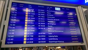 Cancel flight - Frankfurt Airport 2015. Frankfurt International Airport - the pictures shows passenger Terminal I - biggest strike 2015 stock photos